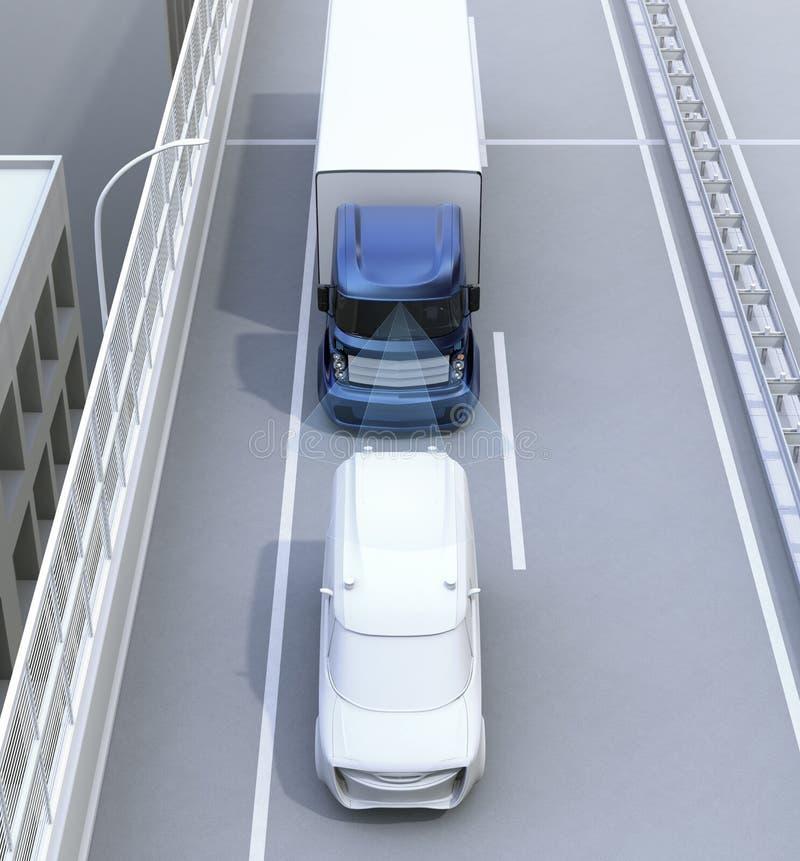 Concepto automático del sistema de frenos para el camión comercial stock de ilustración