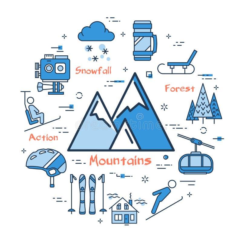 Concepto azul con el icono de las montañas stock de ilustración