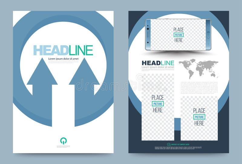 Concepto azul de la flecha del círculo del vector de la plantilla del diseño del aviador del folleto del informe anual libre illustration