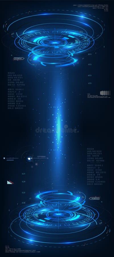 Concepto azul de la tecnología del vector abstracto ejemplo HUD tecnológico brillante del fondo en fondo del vector de espacio stock de ilustración