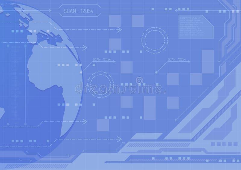 Concepto azul de la tecnología digital del fondo del extracto del color, ejemplo del vector con diseño del espacio de la copia nu ilustración del vector