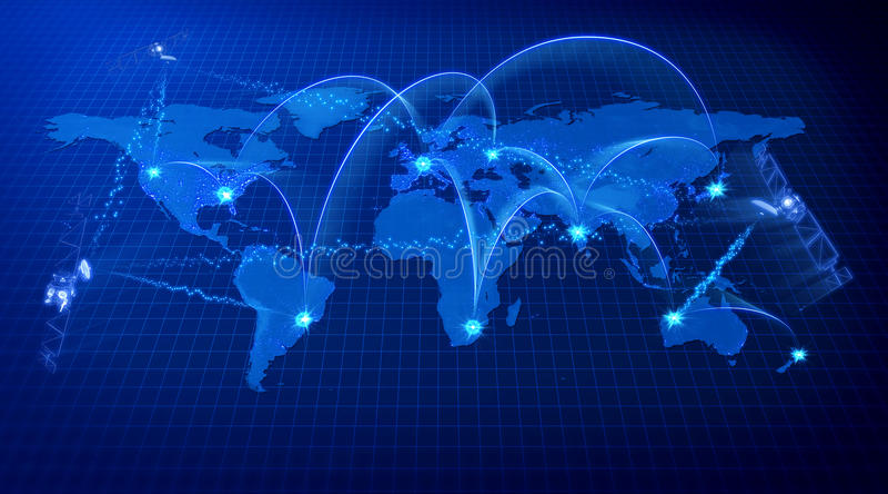 Concepto azul de las comunicaciones del mundo libre illustration