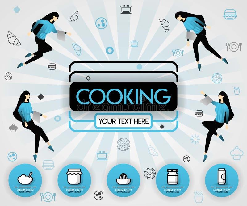 Concepto azul del ejemplo del vector Cocinar el libro y el libro de la cubierta de la comida la receta de cocinar sana y la cubie ilustración del vector