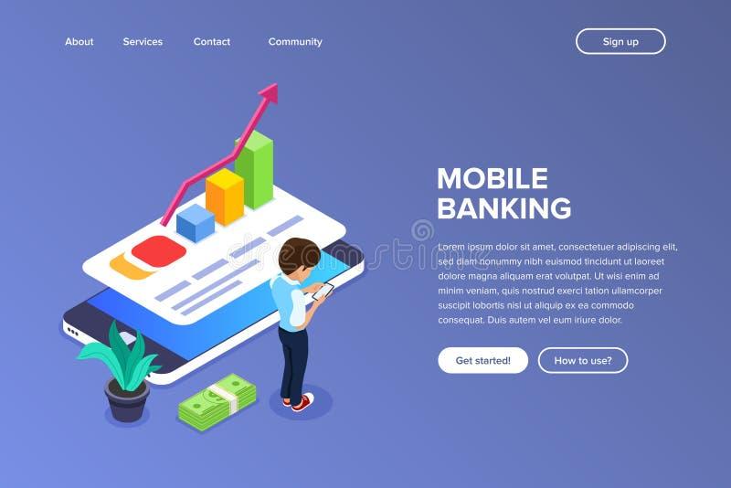 Concepto bancario móvil isométrico El hombre realiza transacciones financieras usando un dispositivo móvil sobre Internet Crecimi libre illustration