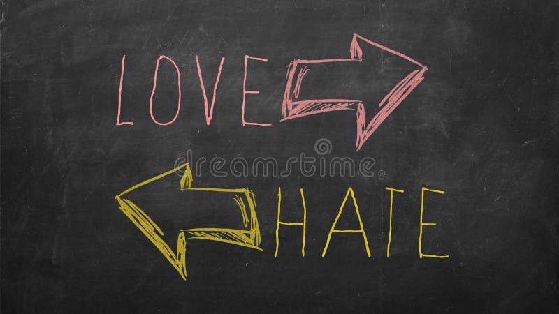 Concepto bien escogido del amor o del odio con direcciones fotografía de archivo