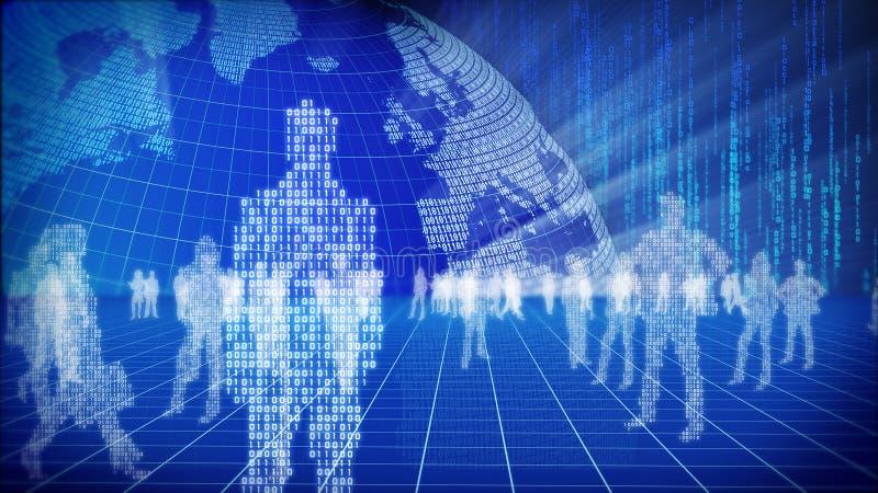 Concepto binario del mundo de la información. ilustración del vector