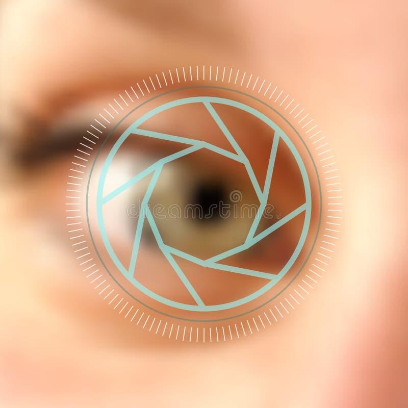 Concepto borroso de la lente de cámara del ojo de la foto libre illustration