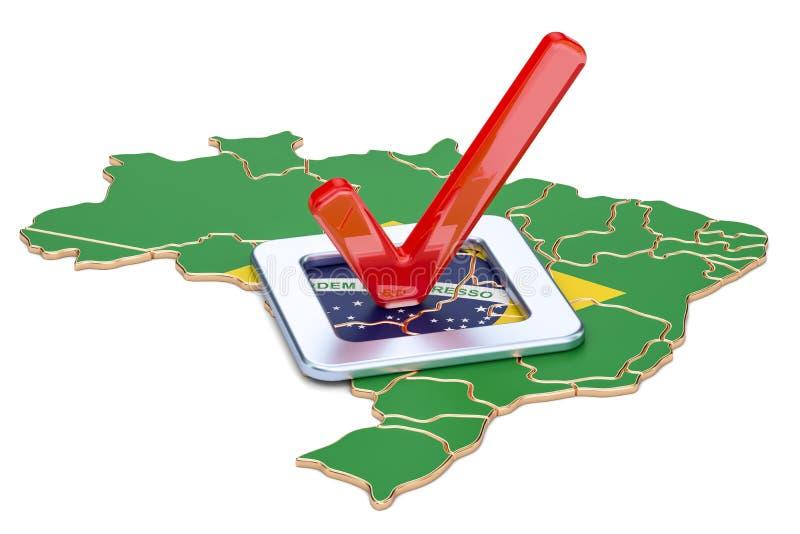 Concepto brasileño de la elección, voto en el Brasil, representación 3D stock de ilustración