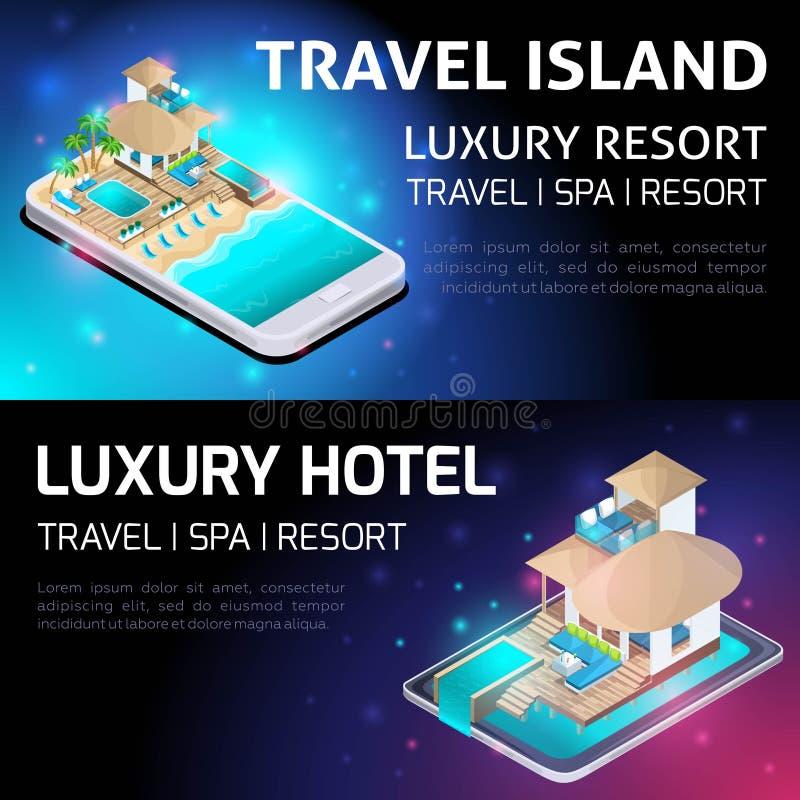 Concepto brillante de Isometry de publicidad del centro turístico lujoso, viaje, hotel de lujo en las islas maldivas en el medio  ilustración del vector