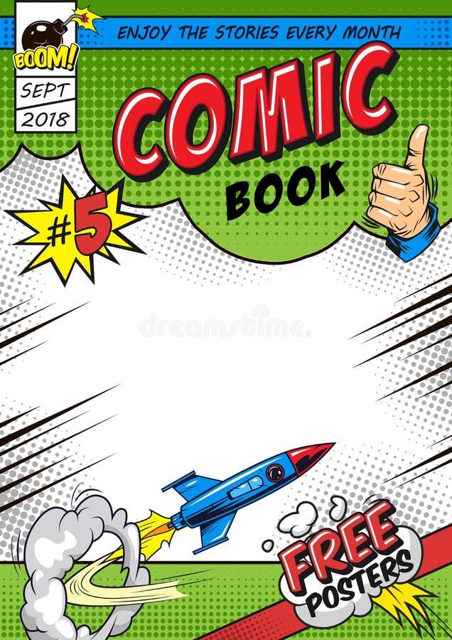 Concepto brillante de la cubierta de cómic stock de ilustración
