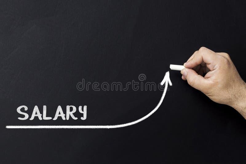 Concepto cada vez mayor del sueldo Línea de aceleración del drenaje del hombre de negocios de mejorar sueldo imagen de archivo