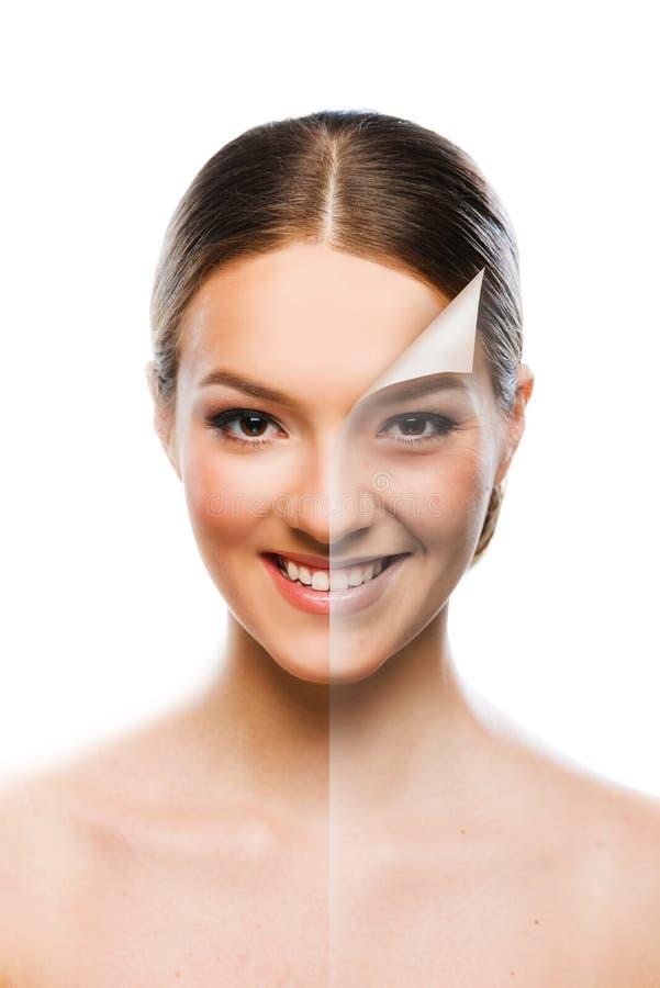 Concepto cambiante de la belleza de la piel de la mujer hermosa foto de archivo