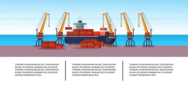 Concepto cargado de la entrega del agua del puerto marítimo de la carga de la nave del cargo de la grúa del negocio del envase in ilustración del vector