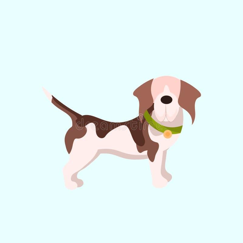 Concepto casero animal lindo de los animales domésticos del pequeño perro del perrito divertido completamente ilustración del vector