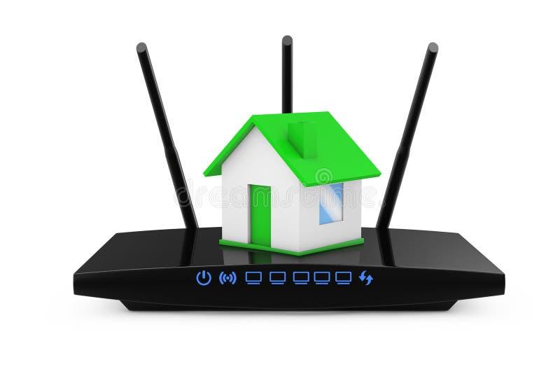 Concepto casero de la red inalámbrica Casa con el router moderno de WiFi 3d libre illustration