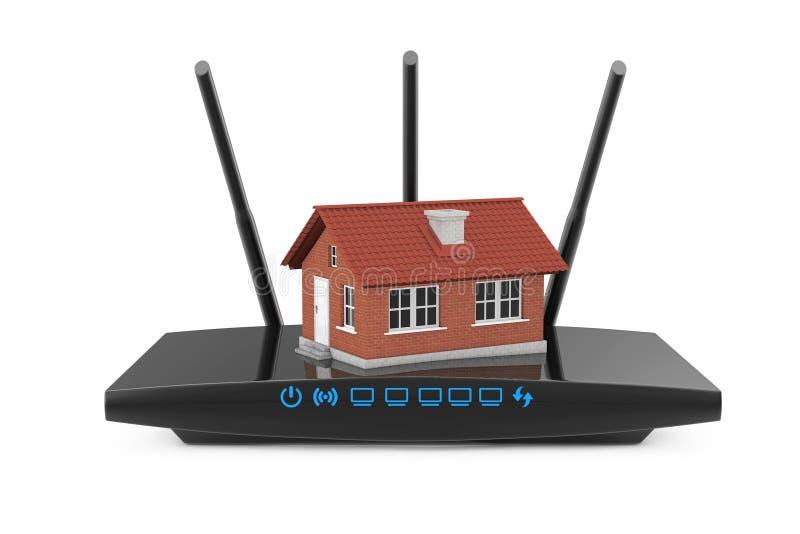 Concepto casero de la red inalámbrica Casa con el router moderno de WiFi 3d ilustración del vector