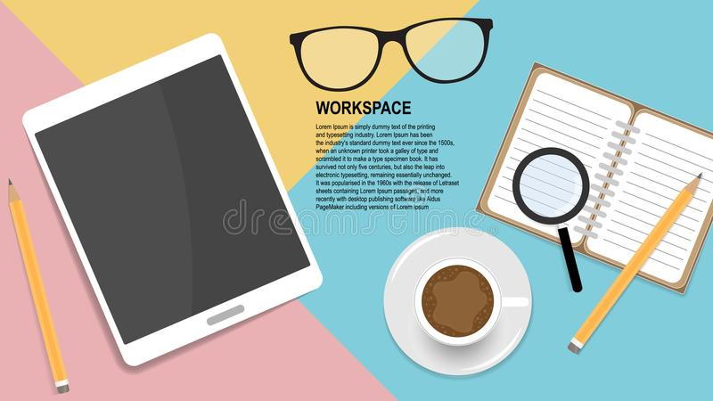 Concepto casero del lugar de trabajo para el webmaster stock de ilustración