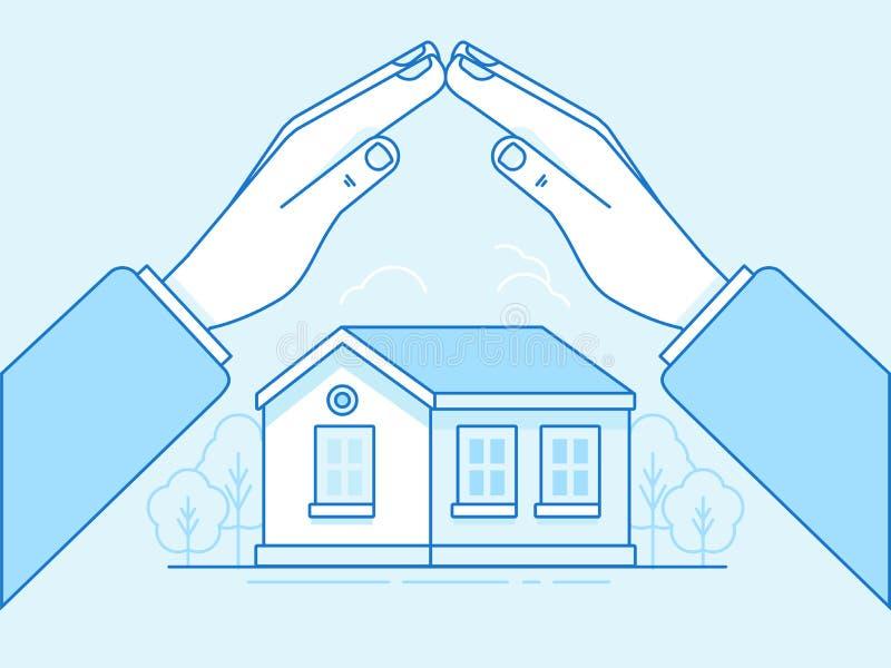 Concepto casero del seguro - el ejemplo y el infographics diseñan el EL libre illustration