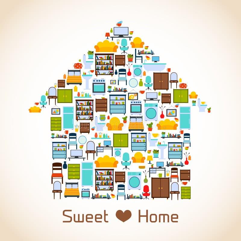 Concepto casero dulce stock de ilustración