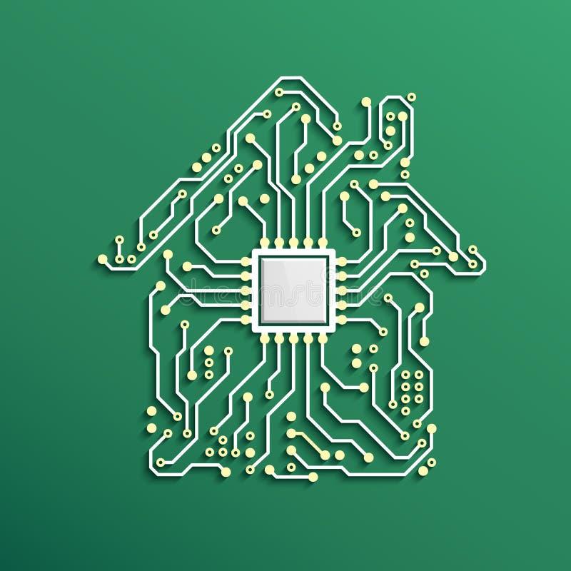 Concepto casero elegante Casa del circuito con la CPU dentro Fondo futuro de la tecnología Ilustración del vector ilustración del vector