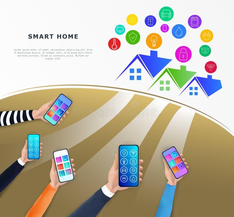 Concepto casero elegante de la tecnolog?a del control IOT o intrnet de cosas Manos que sostienen smartphone con el app móvil para stock de ilustración
