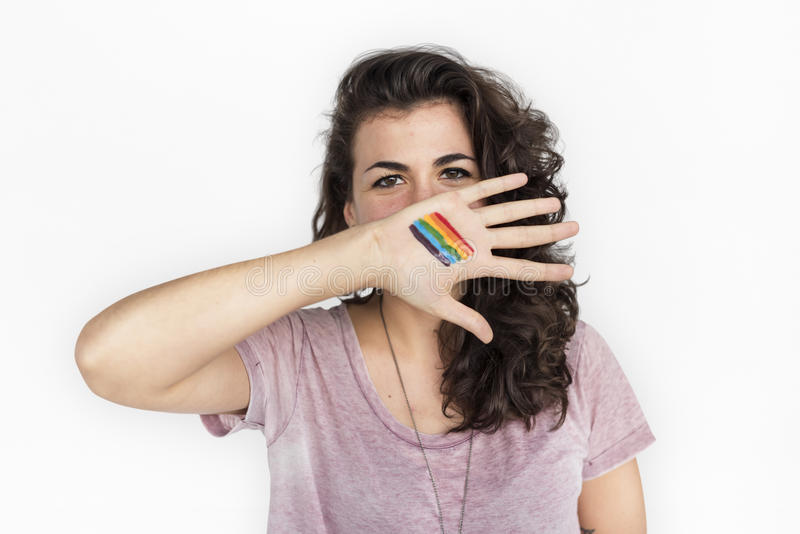 Concepto casual de la fotografía del retrato de la mujer LGBT foto de archivo