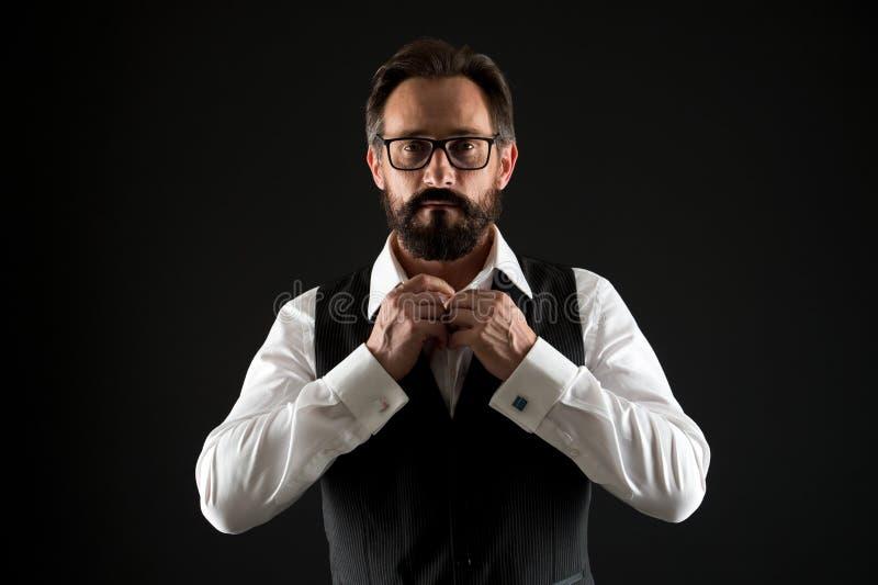Concepto caucásico Camisa caucásica del botón del hombre Hombre caucásico con la barba y el bigote Hombre de negocios caucásico b foto de archivo libre de regalías
