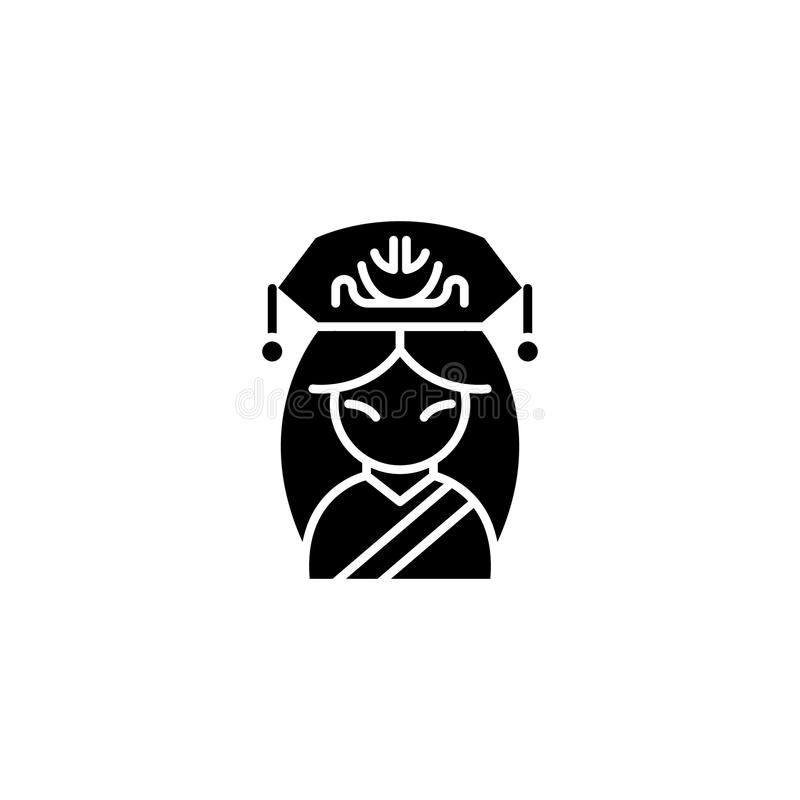Concepto chino del icono del negro de la mujer Símbolo plano del vector de la mujer china, muestra, ejemplo ilustración del vector