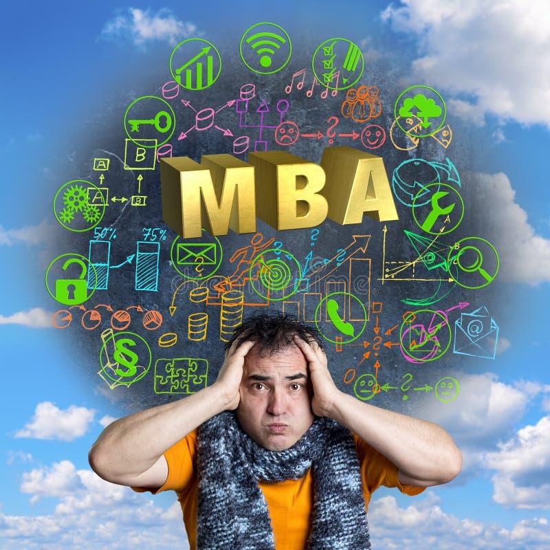 Concepto chistoso de MBA para la educación continua imágenes de archivo libres de regalías
