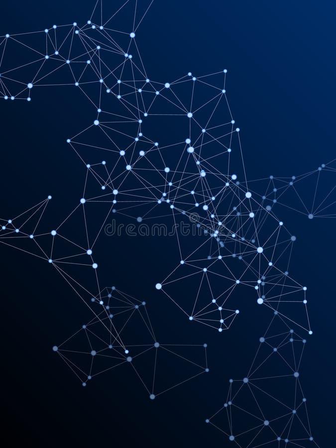 Concepto cibern?tico de la estructura geom?trica del plexo Fondo azul marino del plexo de los nodos de red ilustración del vector