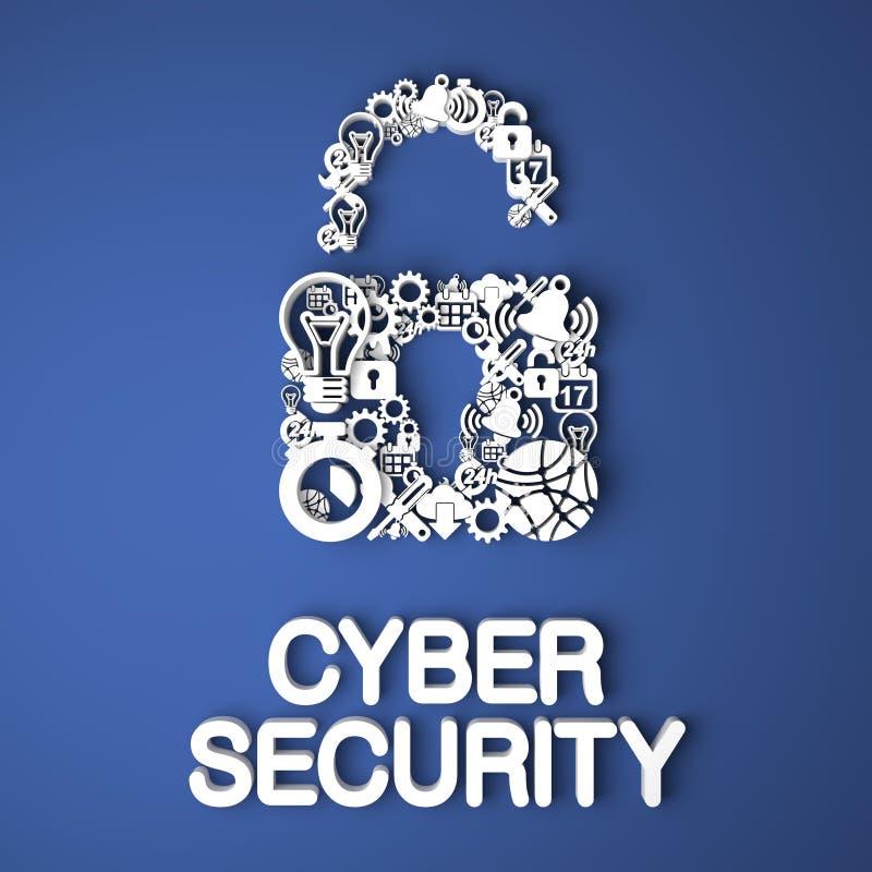 Concepto cibernético de la seguridad. ilustración del vector