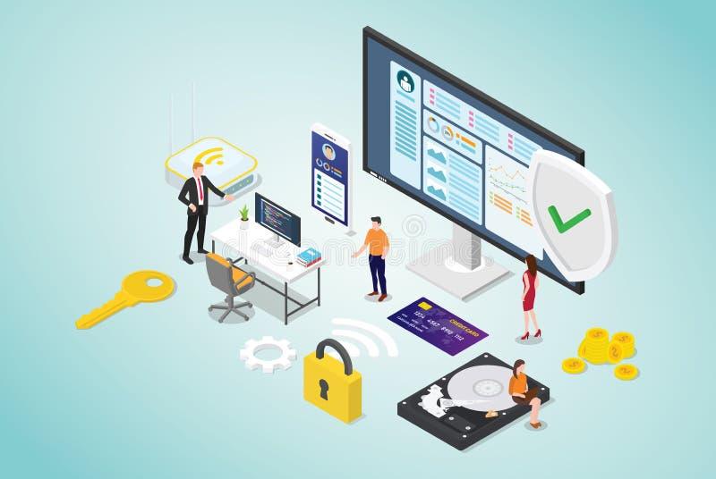 Concepto cibernético de la seguridad con la gente del equipo y el programador seguro del código con estilo plano moderno y diseño stock de ilustración