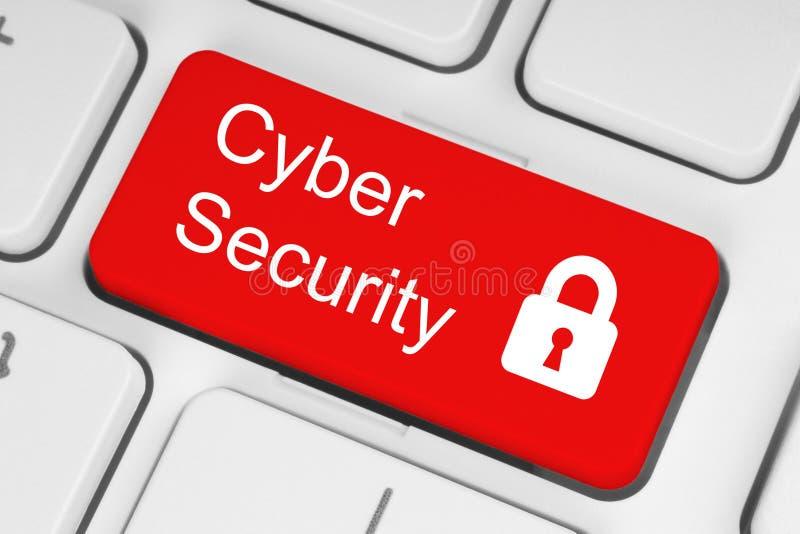 Concepto cibernético de la seguridad en el botón rojo imagen de archivo