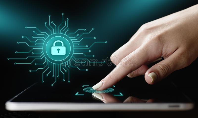 Concepto cibernético de la tecnología de Internet del negocio de la privacidad de la seguridad de la protección de datos foto de archivo libre de regalías