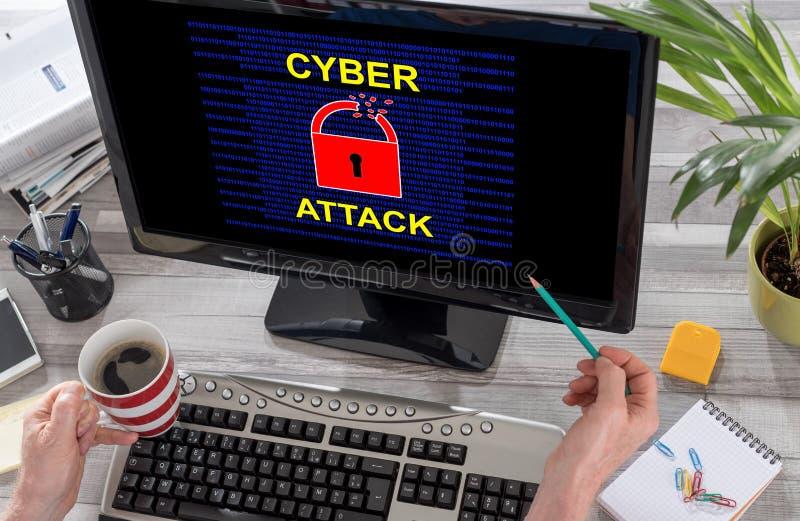 Concepto cibernético del ataque en un ordenador imagen de archivo