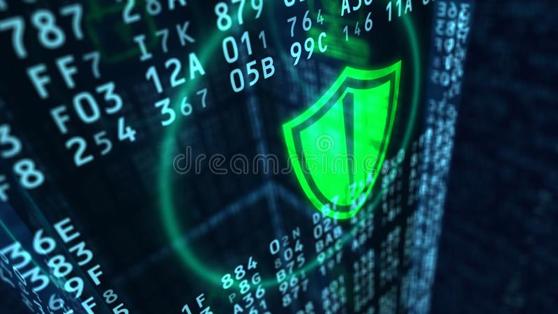 Concepto cibernético del escudo de la seguridad foto de archivo