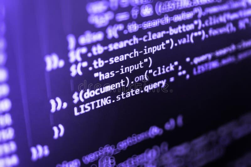 Concepto cibernético del espacio Negocio de las TIC Código programado en el monitor de computadora Complejidad del servidor, fond foto de archivo