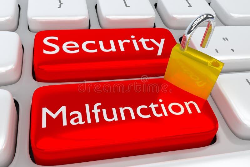 Concepto cibernético del malfuncionamiento de la seguridad ilustración del vector