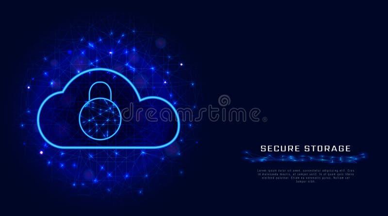 Concepto cibernético del negocio de seguridad Tecnología de la protección de datos de la nube con el candado en fondo poligonal a libre illustration