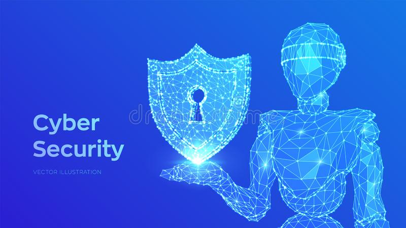 Concepto cibern?tico de la seguridad Escudo con el icono del ojo de la cerradura Bot y cybersecurity de Internet Robot abstracto  ilustración del vector