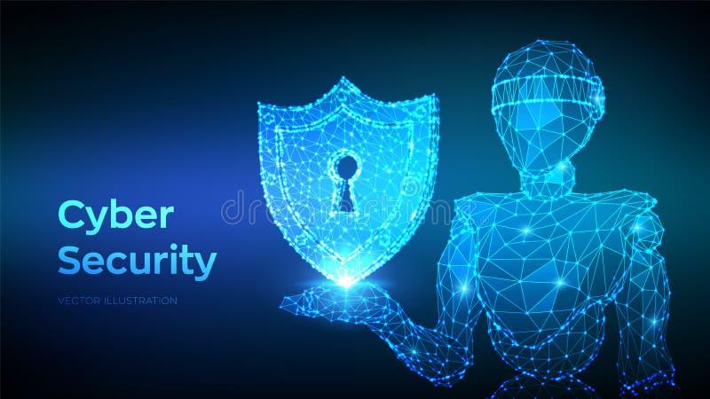 Concepto cibern?tico de la seguridad Escudo con el icono del ojo de la cerradura Bot y cybersecurity de Internet Robot abstracto  libre illustration