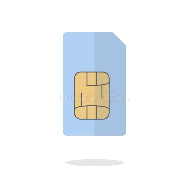 Concepto clave móvil de la tarjeta del sim de la identificación Diseño plano del icono Ilustración común del vector ilustración del vector