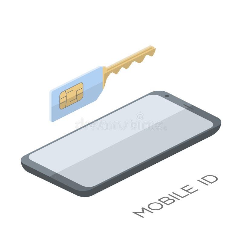 Concepto clave móvil de la tarjeta del sim de la identificación Diseño plano del icono Ilustración del vector stock de ilustración