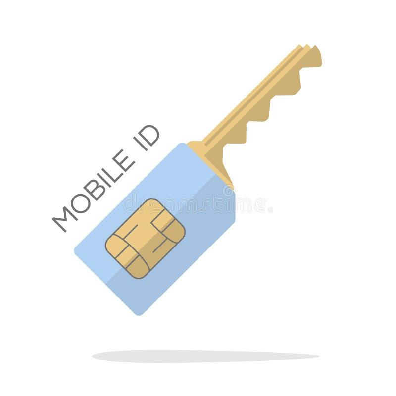 Concepto clave móvil de la tarjeta del sim de la identificación Diseño plano del icono Ilustración del vector ilustración del vector