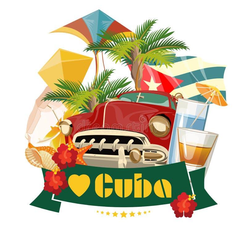 Concepto colorido de la tarjeta del viaje de Cuba Amo Cuba Estilo de la vendimia Ejemplo del vector con la cultura cubana stock de ilustración