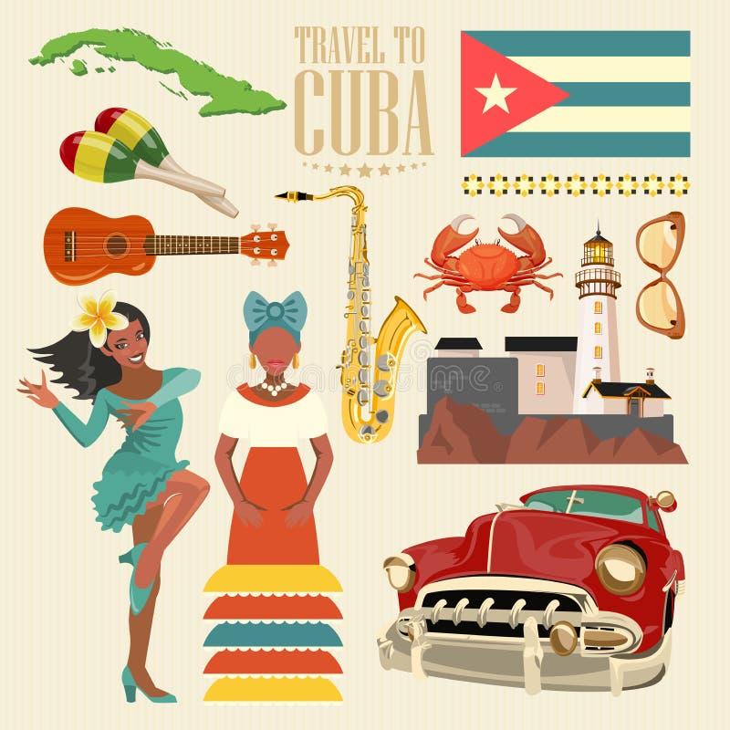 Concepto colorido de la tarjeta del viaje de Cuba Cartel del viaje con el bailarín de la salsa Ejemplo del vector con la cultura  libre illustration