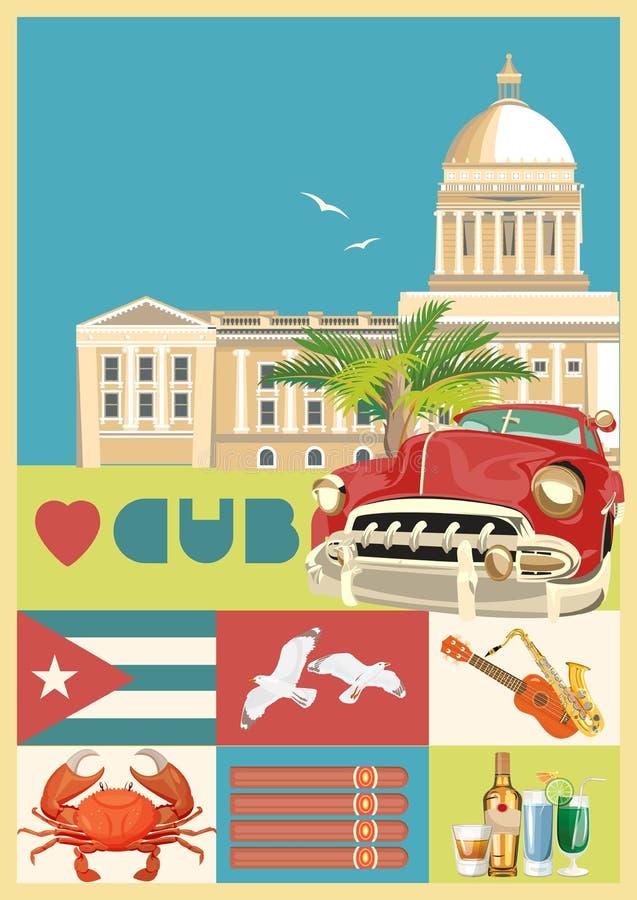 Concepto colorido de la tarjeta del viaje de Cuba con la bandera cubana Estilo de la vendimia Ejemplo del vector con la cultura c ilustración del vector