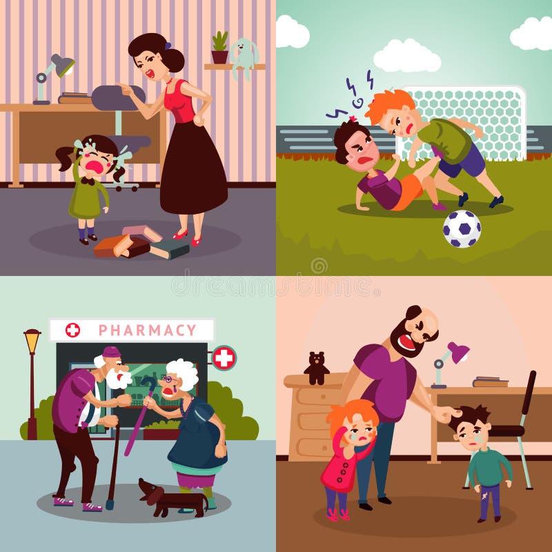 Concepto colorido de la violencia familiar ilustración del vector