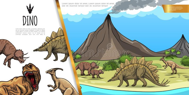 Concepto colorido de los dinosaurios exhaustos de la mano stock de ilustración