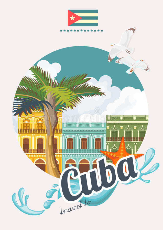 Concepto colorido del cartel del viaje de cuba con la bandera cubana estilo de la vendimia - Banera de viaje ...